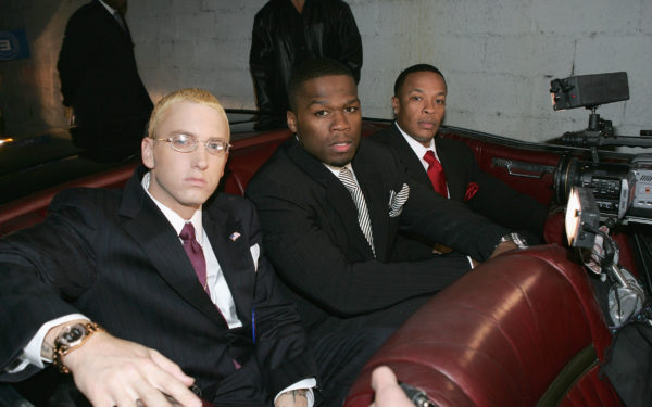NEW YORK - OCTOBER 28:  (L to R) Rappers Eminem, 50 Cent and Dr. Dre arrive at the Shady National Convention to launch Shade 45, a new satellite radio station, at the Roseland Ballroom October 28, 2004 in New York City.  (Photo by Frank Micelotta/Getty Images)