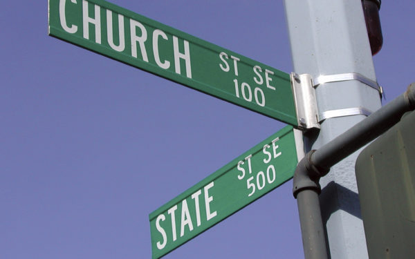 At the intersection of Church and State Streets in Salem, Oregon.