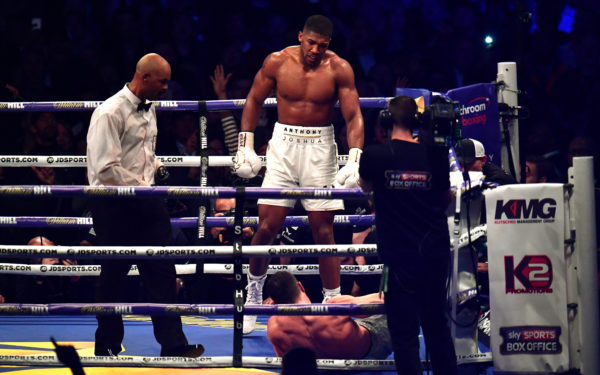 LONDON, ENGLAND - APRIL 29:  Anthony Joshua reacts after knocking down Wladimir Klitschko in the IBF, WBA and IBO Heavyweight World Title bout at Wembley Stadium on April 29, 2017 in London, England.  (Photo by Dan Mullan/Getty Images)