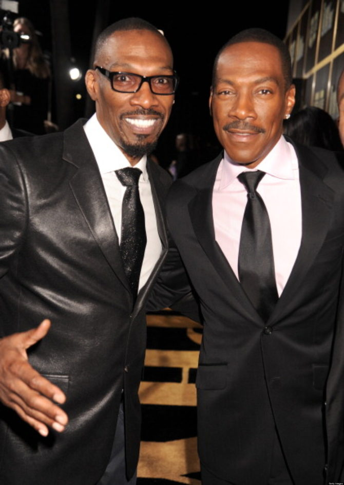"BEVERLY HILLS, CA - NOVEMBER 03:  (L-R) Actor Charlie Murphy and honoree Eddie Murphy arrive at Spike TV's ""Eddie Murphy: One Night Only"" at the Saban Theatre on November 3, 2012 in Beverly Hills, California.  (Photo by Jeff Kravitz/FilmMagic)"