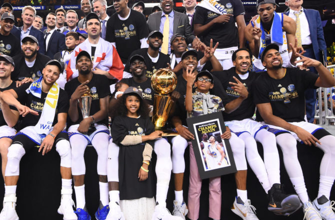OAKLAND, CA - JUNE 12: The Golden State Warriors  are pictured after winning the NBA Championship in Game Five against the Cleveland Cavaliers of the 2017 NBA Finals on June 12, 2017 at Oracle Arena in Oakland, California. NOTE TO USER: User expressly acknowledges and agrees that, by downloading and or using this photograph, user is consenting to the terms and conditions of Getty Images License Agreement. Mandatory Copyright Notice: Copyright 2017 NBAE (Photo by: Noah Graham/NBAE via Getty Images)