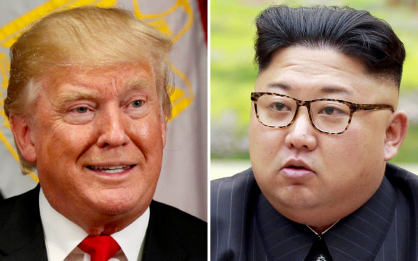 A combination photo shows U.S. President Donald Trump in New York, U.S. September 21, 2017 and North Korean leader Kim Jong Un in this undated photo released by North Korea's Korean Central News Agency (KCNA) in Pyongyang, September 4, 2017.  REUTERS/Kevin Lamarque, KCNA/Handout via REUTERS/File Photos - RC1A54027780